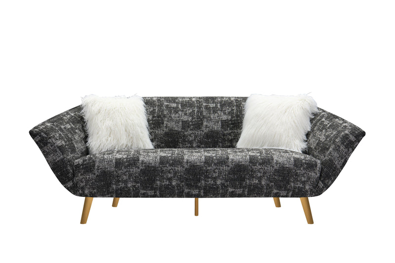 Iconic Home Chateau Sofa Two-Tone Textured Fabric Flared Arm Design Goldtone Solid Metal Legs Black