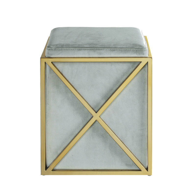 Iconic Home Vana Square Ottoman Velvet Upholstered Brass Finished Stainless Steel X Frame Grey