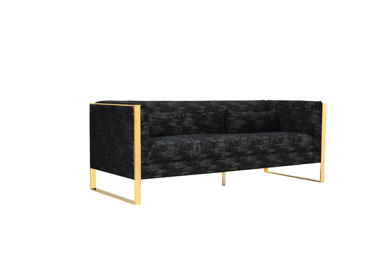 Iconic Home Louvre Sofa Two Tone Textured Fabric Sculptural Gold Tone Solid Metal Frame Black