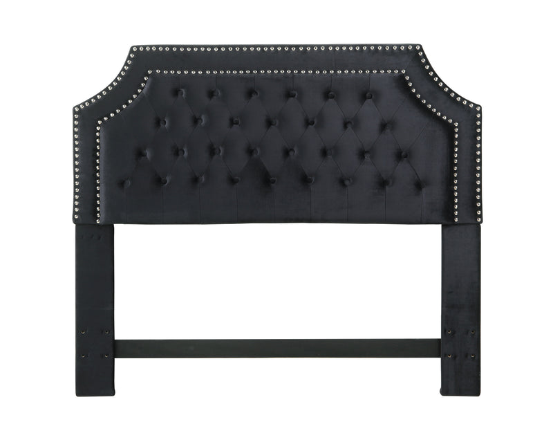 Iconic Home Chava Headboard Button Tufted Velvet Upholstered Double Row Nailhead Trim Black