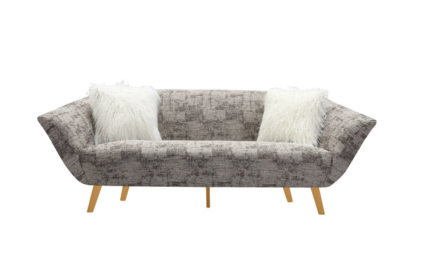 Iconic Home Chateau Sofa Two-Tone Textured Fabric Flared Arm Design Goldtone Solid Metal Legs Brown