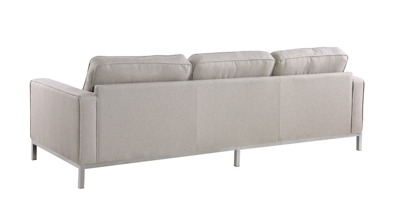 Iconic Home Draper Sofa Three Seat Linen Upholstered Button Tufted Silvertone Metal Legs Taupe