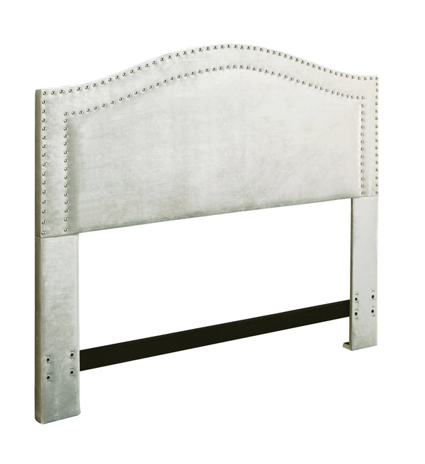 Iconic Home Tal Headboard Velvet Upholstered Double Row Nailhead Trim Silver
