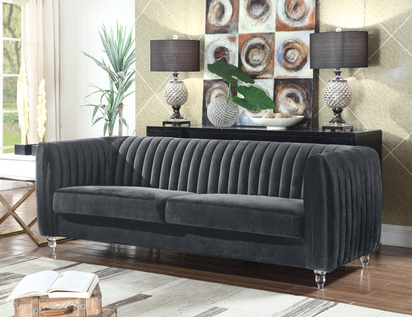 Iconic Home Kent Mark Elli Priscilla Maxx Channel Quilted Velvet Sofa Grey Main Image