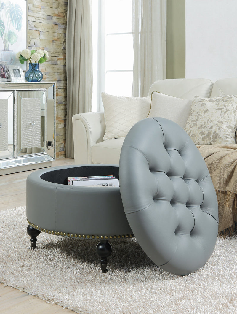 Iconic Home Mona Round Storage Ottoman Button Tufted PU Leather Upholstered Espresso Wood Legs Grey
