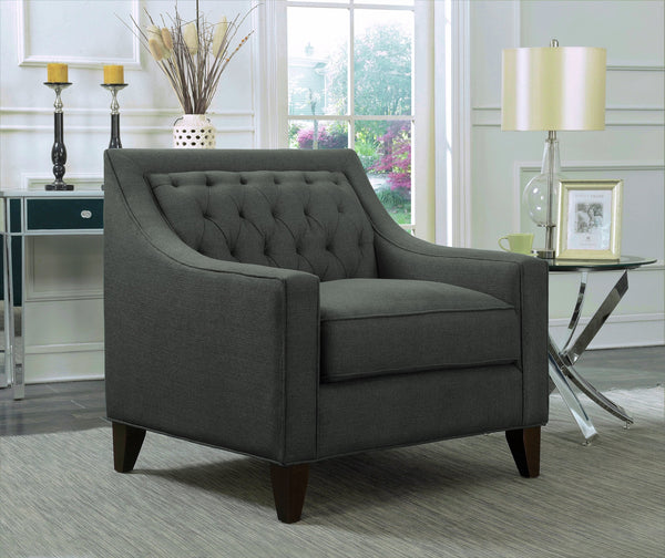 Iconic Home Aberdeen Aurora Vesta Fulla Orion Linen Tufted Accent Club Chair Grey Main Image