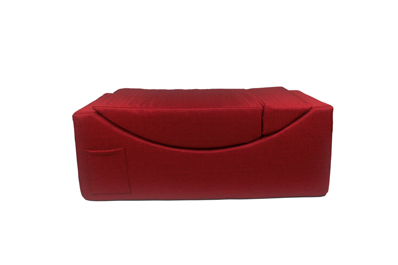 Iconic Home Enzyme Faux Linen Recliner Accent Chair Ottoman Bench Red