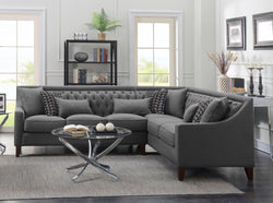 Iconic Home Aberdeen Aurora Vesta Fulla Orion Linen Tufted Right Facing Sectional Sofa Grey Main Image Grey