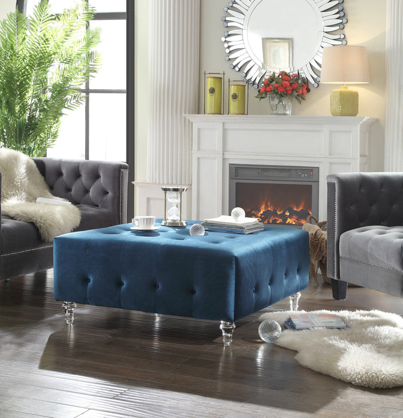 Iconic Home Samspon David Joshua Derek Asher Coffee Table Ottoman Velvet Upholstered Button Tufted Bench Blue Main Image