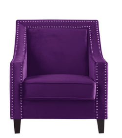 Iconic Home Camren Camero Kam Kameron Keros Accent Chair Velvet Upholstered Nailhead Trim Tapered Espresso Wood Legs Purple Front Image