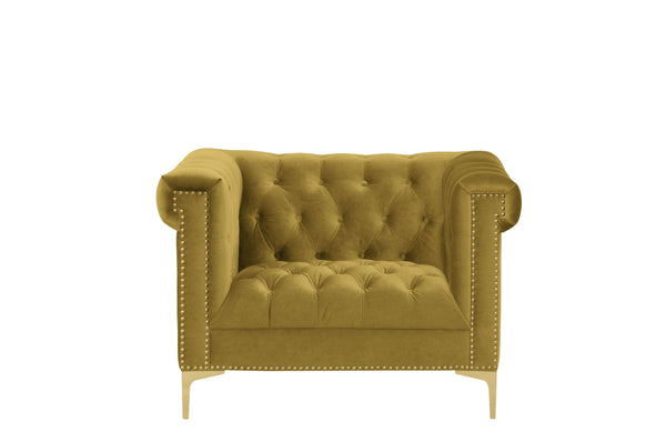 Iconic Home Bea Velvet Button Tufted Nailhead Trim Goldtone Metal Y-Legs Accent Club Chair Cognac