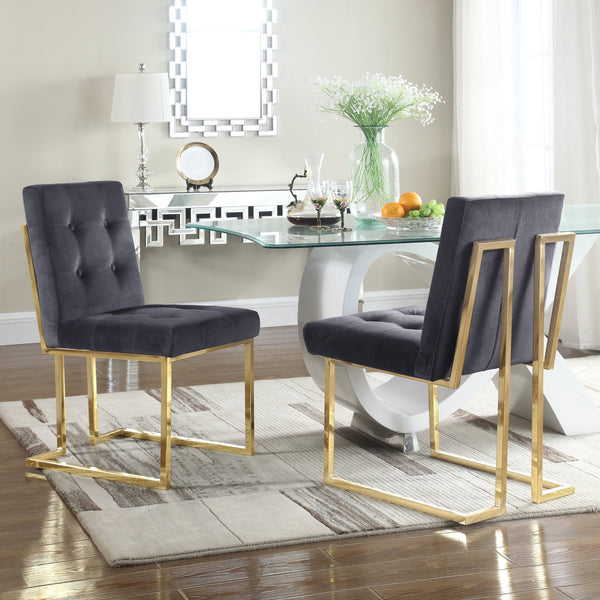 Iconic Home Liam Mason Isaac Pierre Levi Velvet Button Tufted Polish Metal Frame Dining Side Chair (Set of 2) Grey Main Image