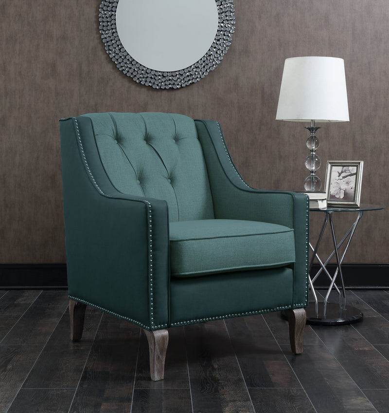 Iconic Home Ethan Jayden Riley Kris Haymish Accent Club Chair Linen PU Leather Upholstered Button Tufted Nailhead Trim Carved Wood Legs Blue Main Image
