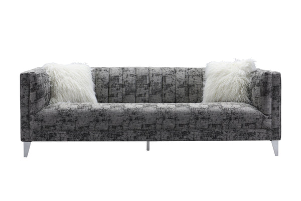 Iconic Home Montmarte Sofa Textured Fabric Channel-Quilted Tapered Silvertone Metal Legs Black