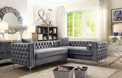 Iconic Home Mozart Weston Astrid Susan Howard Right Facing Sectional Sofa Velvet Button Tufted Nailhead Trim Metal Y-Leg Grey Main Image