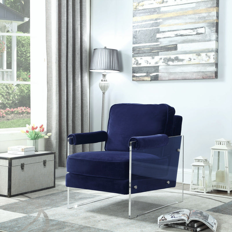 Iconic Home Logan Archibald Rodric Emman Gavin Accent Club Chair Velvet Upholstered Acrylic Frame Navy Main Image