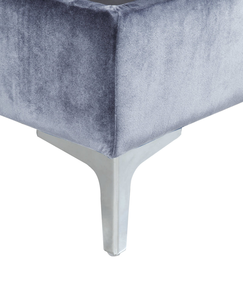 Iconic Home Guinevere Storage Ottoman Sleek Velvet Upholstered Silvertone Metal Y Leg Bench Grey