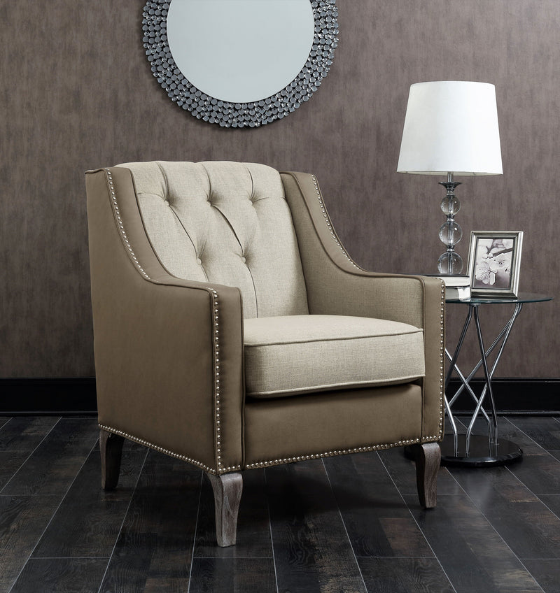Iconic Home Ethan Jayden Riley Kris Haymish Accent Club Chair Linen PU Leather Upholstered Button Tufted Nailhead Trim Carved Wood Legs Beige Main Image