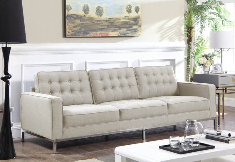 Iconic Home Draper Mayer Tucker Sterling Olson Sofa Three Seat Linen Upholstered Button Tufted Silvertone Metal Legs Taupe Main Image