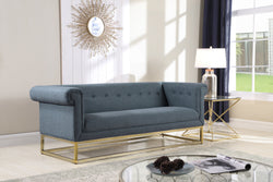 Iconic Home Palmira Penelope Cassandra Gloria Paloma Button Tufted Rolled Arm Sofa Blue Main Image