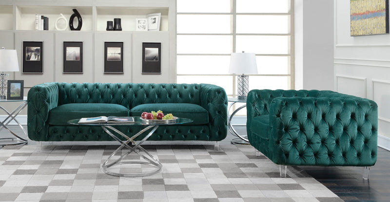 Iconic Home Syracus Tufted Velvet Plush Club Sofa Green