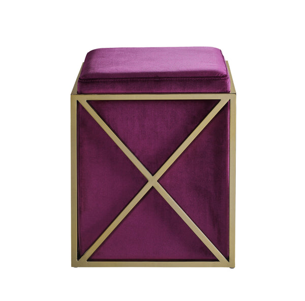Iconic Home Vana Square Ottoman Velvet Upholstered Brass Finished Stainless Steel X Frame Plum