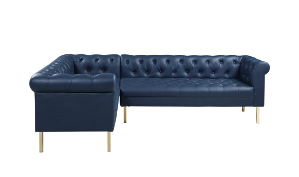 Iconic Home Giovanni Right Facing Sectional Sofa L Shape PU Leather Upholstered Gold Tone Legs Navy