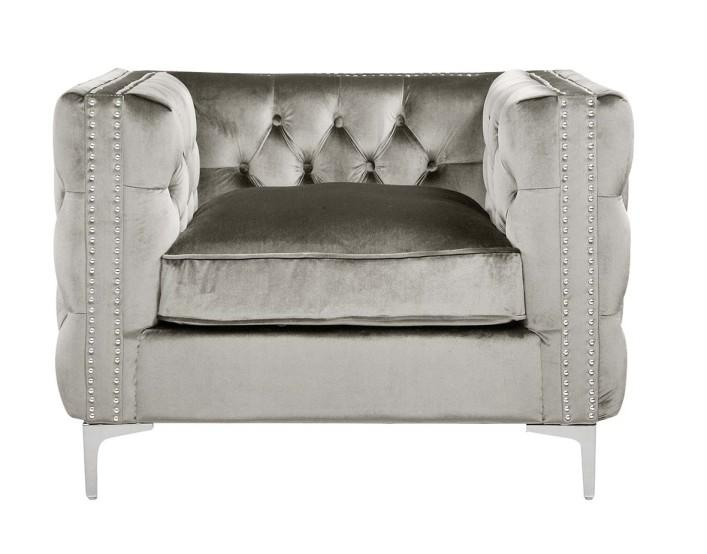Iconic Home Da Vinci Button Tufted Velvet Upholstered Nail Head Trim Accent Club Chair Silver