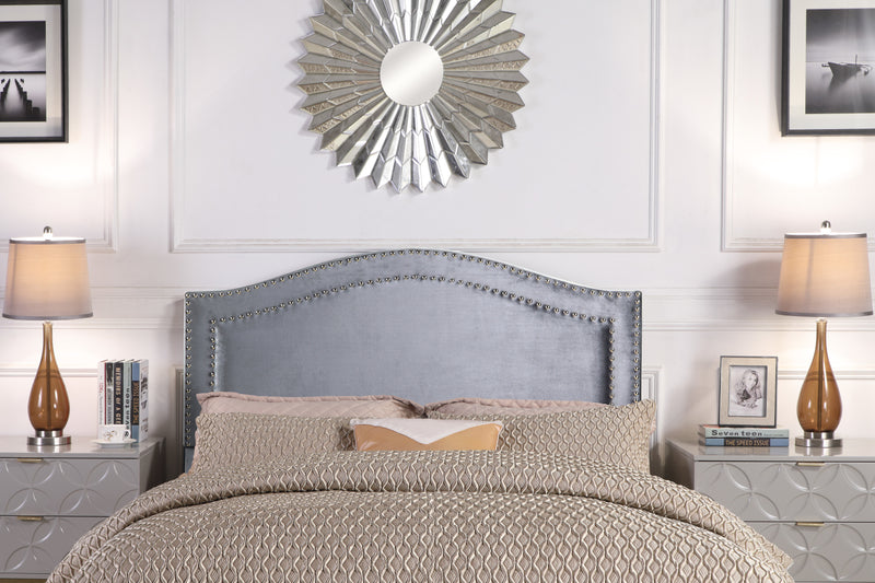 Iconic Home Tal Clio Godiva Idun Minerva Headboard Velvet Upholstered Double Row Nailhead Trim Grey Main Image