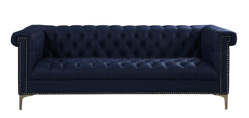 Iconic Home Winston PU Leather Button Tufted Nailhead Trim Metal Legs Sofa Navy