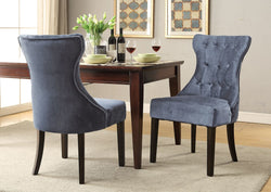 Iconic Home Dickens Shelley Doyle Bronte Austen Dining Side Chair Button Tufted Velvet Espresso Wood Legs Grey (Set of 2) Main Image