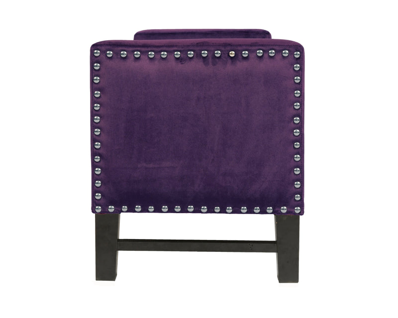 Iconic Home Marcus Storage Bench Button Tufted Velvet Upholstered Espresso Legs Ottoman Plum
