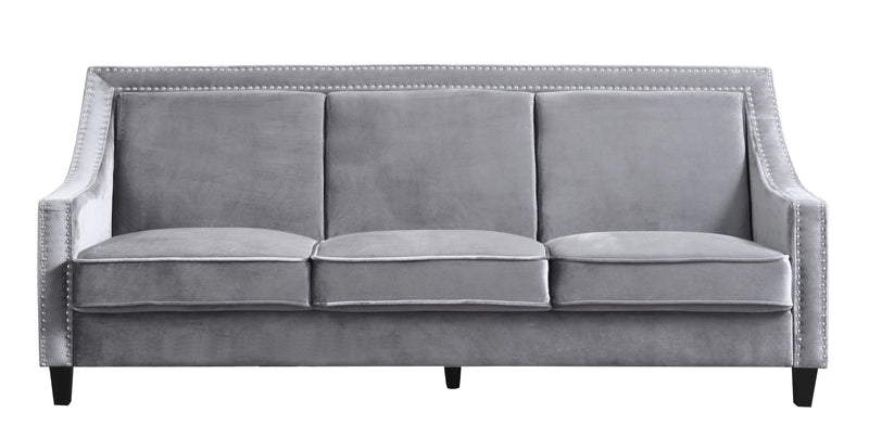 Iconic Home Camren Camero Kam Kameron Keros Sofa Velvet Upholstered Swood Arm Nailhead Trim Tapered Espresso Wood Legs Grey Front Image