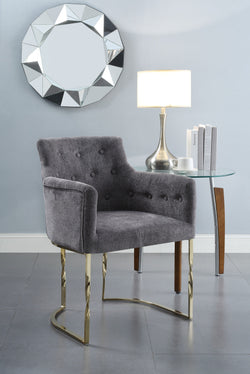Iconic Home Amalfi Cilento Atrani Minori Positano Accent Chair Button Tufted Linen Upholstered Gold Tone Solid Metal Frame Grey Main Image