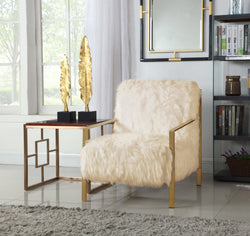Iconic Home Bayla Gala Masha Raisa Katrina Accent Club Chair Faux Fur Upholstered Brass Finished Stainless Steel Frame Beige Main Image