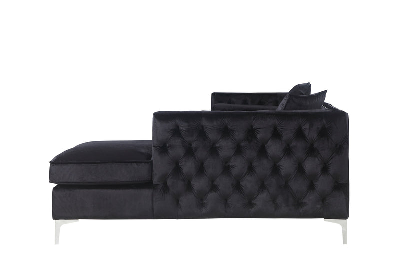 Iconic Home Da Vinci Button Tufted Velvet Right Facing Chaise Sectional Sofa Black