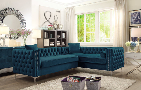 Iconic Home Mozart Weston Astrid Susan Howard Right Facing Sectional Sofa Velvet Button Tufted Nailhead Trim Metal Y-Leg Teal Main Image