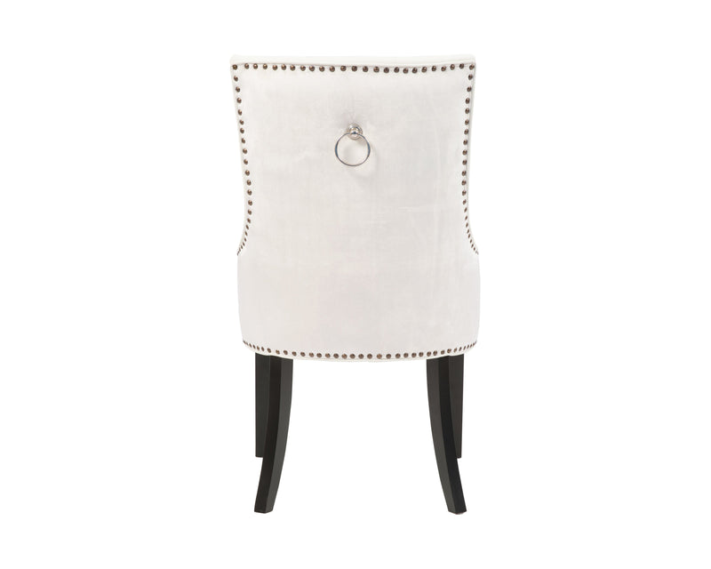 Iconic Home Cadence Button Tufted PU Leather Velvet Wood Legs Dining Side Chair White (Set of 2)
