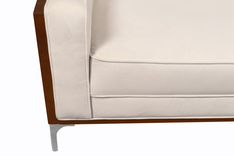 Iconic Home Clark Sofa Button Tufted Velvet Walnut Finish Swoop Arm Wood Frame Metal Y Legs Cream