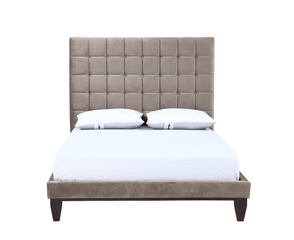 Iconic Home Beethoven Bed Frame with Headboard Tufted Velvet Upholstered Tapered Birch Legs Taupe