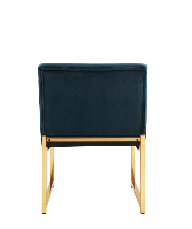 Iconic Home Moriah Accent Chair Button Tufted Velvet Upholstered Brass Finished Metal Frame Green
