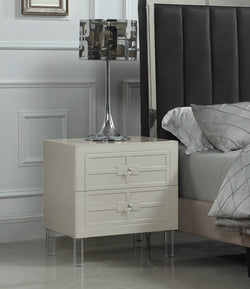 Iconic Home Naples Pompeii Assisi Lucca Amalfi Side Table Nightstand Self Closing Drawers Lacquer Finish Acrylic Legs Beige Main Image