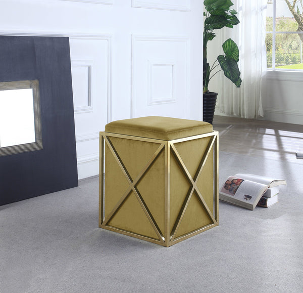 Iconic Home Vana Genesis Aalfa Zeleeka Dawn Square Ottoman Velvet Upholstered Brass Finished Stainless Steel X Frame Cognac Main Image