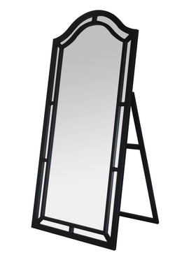 Iconic Home Berlin Kali Pax Gale Perzsi Floor Mirror Free Standing Satin Finish Traditional Black Main Image
