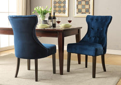 Iconic Home Dickens Shelley Doyle Bronte Austen Dining Side Chair Button Tufted Velvet Espresso Wood Legs Ice Blue (Set of 2) Main Image