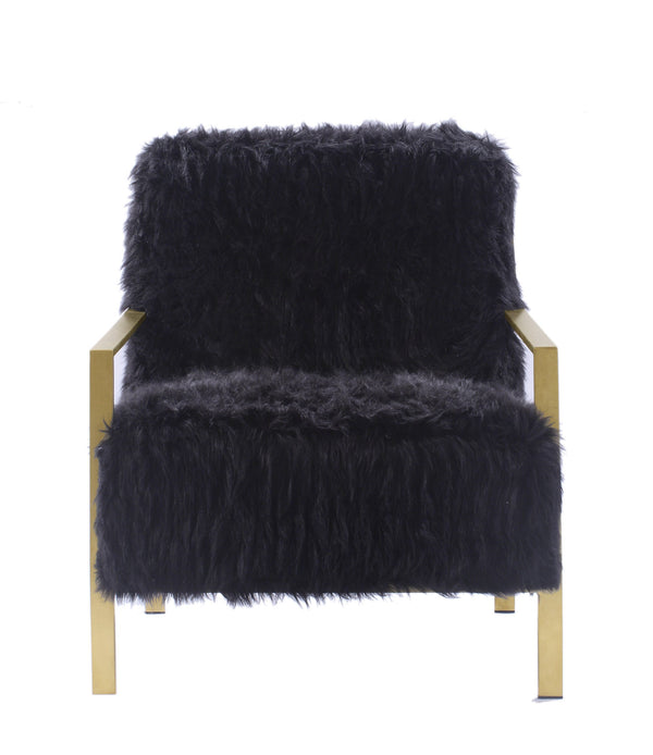 Iconic Home Bayla Accent Club Chair Faux Fur Upholstered Brass Finished Stainless Steel Frame Black
