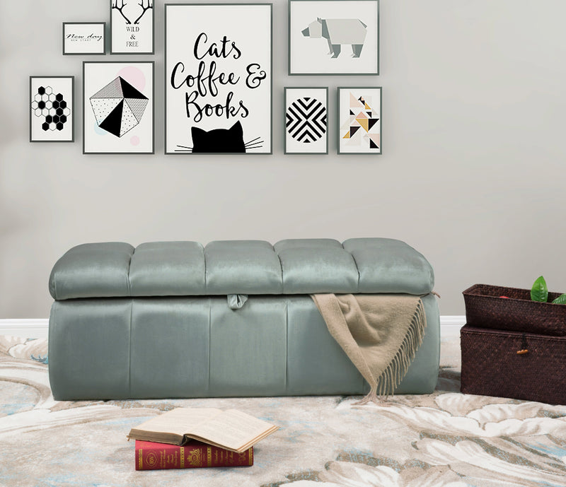 Iconic Home Chagit Felicci Gayle Fiesta Naflah Storage Ottoman Sleek Tufted Velvet Upholstered Bench Grey Main Image