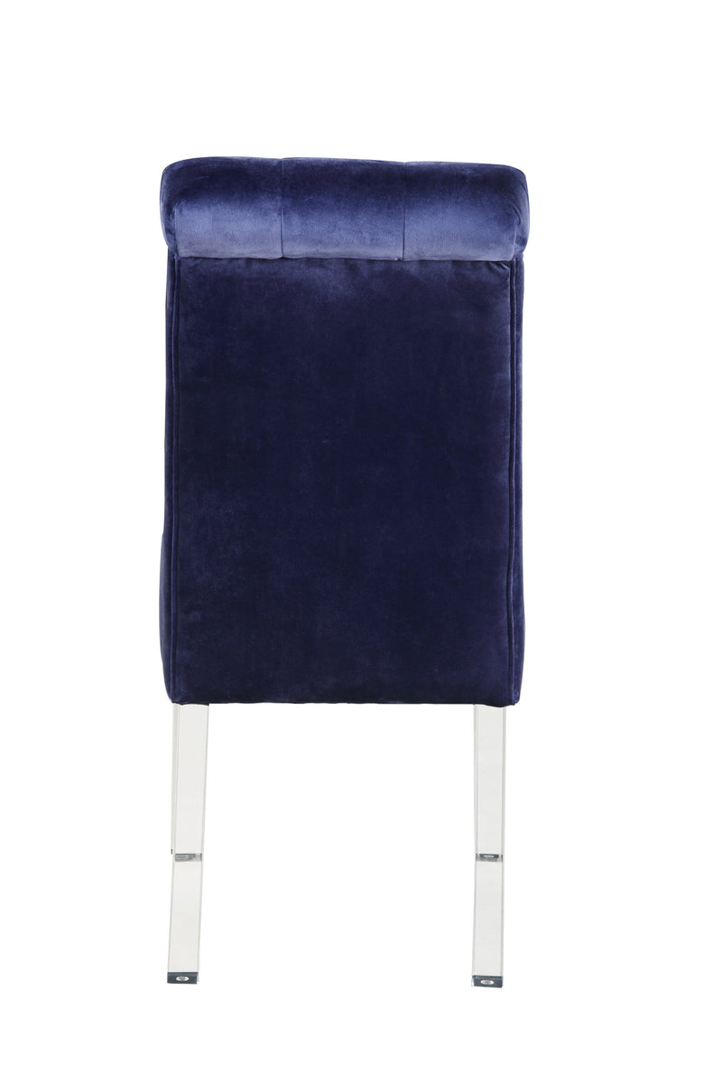 Iconic Home Sharon Dining Side Chair Button Tufted Velvet Upholstered Acrylic Legs Navy (Set of 2)