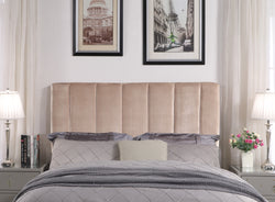 Iconic Home Uriella Leor Siraj Anwar Lucian Headboard Velvet Upholstered Vertical Striped Taupe Main Image