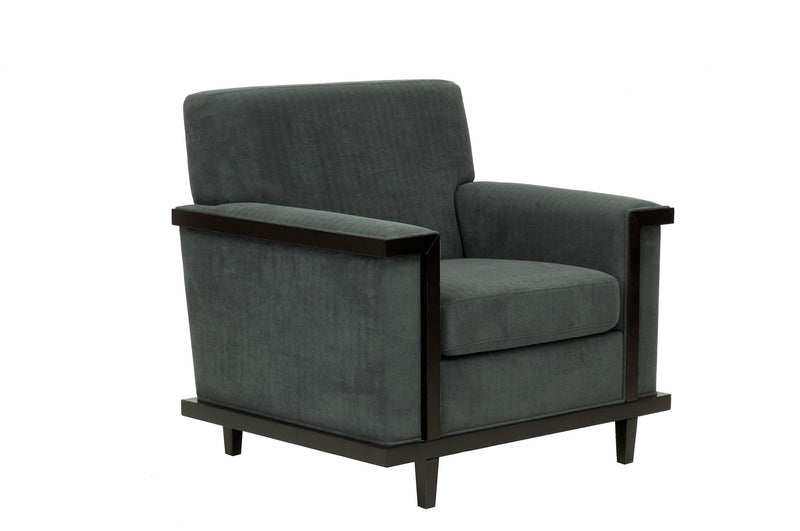 Iconic Home Norwell Accent Club Chair Retro Modern Wood Trim Detailed Herringbone Chenille Charcoal